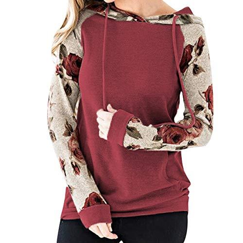 Zolimx Frauen-Druck-Bluse-Lange Ärmel-nähende Taschen-mit Kapuze Sweatshirt
