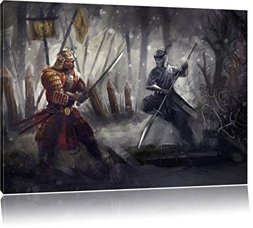 Kampf zwischen Samurai und Ninja, Format: 60x40 auf Leinwand, XXL riesige Bilder fertig gerahmt mit Keilrahmen, Kunstdruck auf Wandbild mit Rahmen, günstiger als Gemälde oder Ölbild, kein Poster oder Plakat