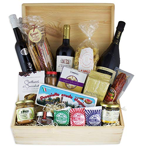 Weihnachten Schatzkiste Schlemmerbox - Deluxe Gourmet Delikatessen Geschenkset Feinkost in repräsentativer Holzkiste, Geschenkkorb italienisch