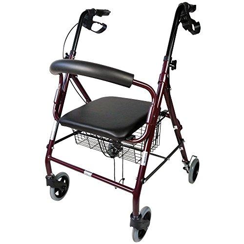 Deambulatore a 4 ruote | Girello pieghevole per anziani | Rollator in alluminio | Con Freni a Mano e Impugnature Ergonomiche | Cestino Incluso | Mod. Escorial | Mobiclinic