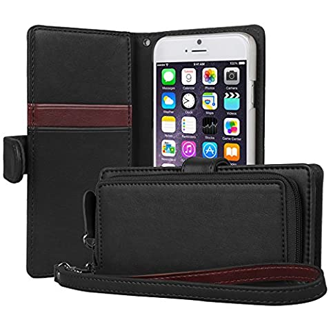 iPhone 6S Case, TORU [iPhone 6S Zipper Wallet Case] Card Slot Holder Magnetic Flip Cover with Zipper Pocket and Wrist Strap for iPhone 6S / iPhone 6 - Black