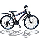 Talson 26 Zoll Mountainbike Fahrrad mit GABELFEDERUNG & Beleuchtung 21-Gang Shimano Faster BBO