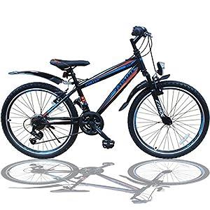 Talson 24 Zoll Mountainbike Fahrrad MIT GABELFEDERUNG & Beleuchtung 21-Gang...