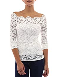 1016d92f653a19 Ulanda-EU Damen Floraler Spitze Langarmshirt Bluse Geblümte Schulterfreie  Slim Fit Elegant Spitzenshirt Tops Shirt T-Shirt Tunika Hemd…
