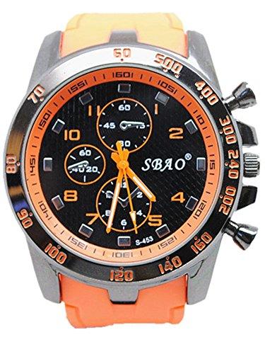 Genossen Uhr Armbanduhren Wasserdicht Sportuhren Leuchtzeiger für Junge Sport Hell Farbe Orange