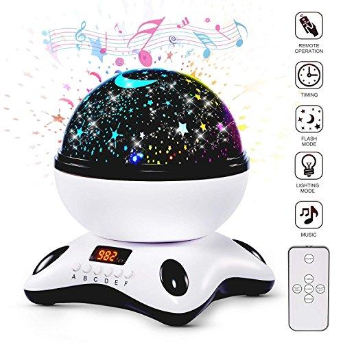 XY - Proyector lámparas estrellas, modelo nuevo 360 grados rotación música lampara infantil con led pantalla y control remoto, romántica luz de la noche con 8 colores modos, regalo para los niños compleaños, día de los Reyes, Halloween, Navidad, etc - Negro y blanco