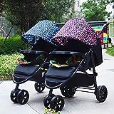 Baby trolley Cochecito Doble Doble Cochecito Plegable Todo Terreno Todo Terreno Adecuado para niños pequeños y niños Cochecito Estable, Cochecito Doble fácil de Llevar