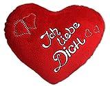 Unbekannt 2 x Herzkissen 20 cm hochwertiges Plüsch Stickerei Rot Herz Kissen Valentinstag