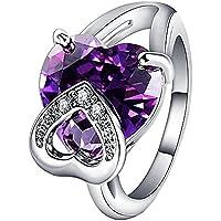 BIGBOBA 1 pieza encanto Corazón Morado circón anillo creativos Recorte Anillo Freundin favoritos vacaciones regalo elegante
