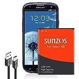 SUNZOS Akku für Samsung Galaxy S3 GT-i9300 GT-i9305 Galaxy S3 Neo GT-i9301 Ersatz EB-L1G6LLU (2100mAh)