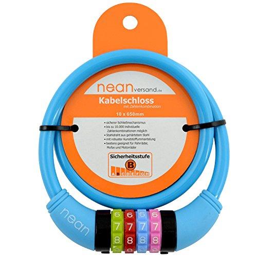nean Fahrradschloss für Kinder, Zahlen-Code-Kombination-Kabel-Schloss, bunt, 10 x 650 mm (Blau)