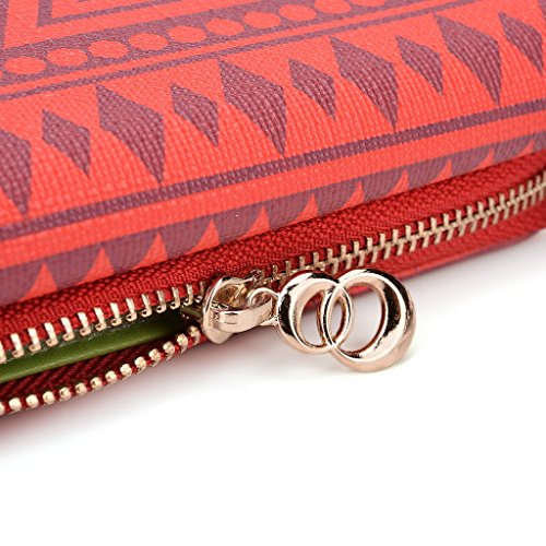 Kroo Pochette/étui style tribal urbain pour Samsung Galaxy Fame White with Mint Blue rouge