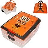 alles-meine.de GmbH Transportbox - 2 Etagen mit Transporthaube -  BBQ Menu - Orange  - Kunststof..