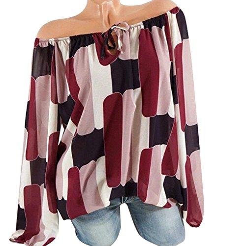 BHYDRY Frauen-beiläufige Kalte Weg von der Schulter-unregelmäßigen Druck-Langen Hülsen-Oberseiten-Hemd-Bluse(XL,Rot)