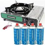 Hornillo portátil a gas 2,2kW Mader + 4 cartuchos de gas CP250 (MSF-1) 220g Campingaz y Llavero Bricolemar de