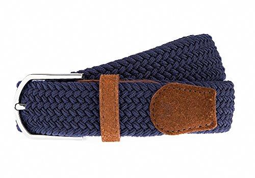 APPAREL NORTH - Hochwertiger Geflochtener Stretchgürtel - Stoffgürtel - Flechtgürtel - Herren & Damen, Details aus 100 % Echtleder (Medium (100 cm), Marineblau (Wildleder)) (Unten Wildleder)