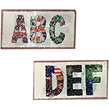 Virtue T-Shirt Girl Patch 23.5cm Letters ABCDEF flip Double Sided Patches for Clothing Reversible Change Color Sequins T Shirt Stickers