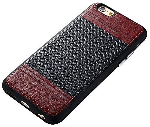 Iphone 6S Coque,Iphone 6S Case,Iphone 6 Coque,Iphone 6 Case, Nnopbeclik® Lignes de tissage Style Backcover Doux Soft Silicone Antichoc Housse Coque Iphone 6S,Coque Iphone 6 (4.7 Pouces) Protection Ant marron+noir
