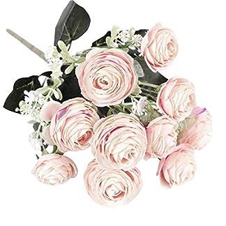 Ogquaton 1 Pieza de jardín de Flores de Camelia Artificial DIY Party Home Wedding Holiday Craft Decor, Color Vivo sin decoloración – Rosa Claro Duradero y útil
