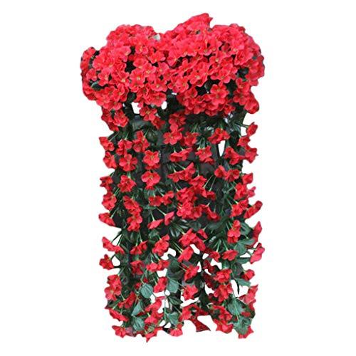Künstlich Hängende Blumen Sannysis Violette Blumen-Wand-Glyzinien-Korb-hängende Girlande-Rebe blüht Gefälschte Silk Orchidee Bunte Kunstblumen Rot (Flower Silk Orchideen Bulk)