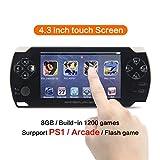 CZT 4,3 pouces à écran tactile 8 Go console de jeux Consoles de jeux Console de jeux vidéo construire en 1200 jeu sans répression pour PS1/Arcad/flash/gba/fc/gbc/smd/sfc MP3/4 (noir)