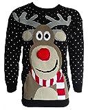 Herren Damen 3D Rudolph Rentier Elfen Weihnachten Neuheit Pullover Stricktop - SCHWARZ POM POM...