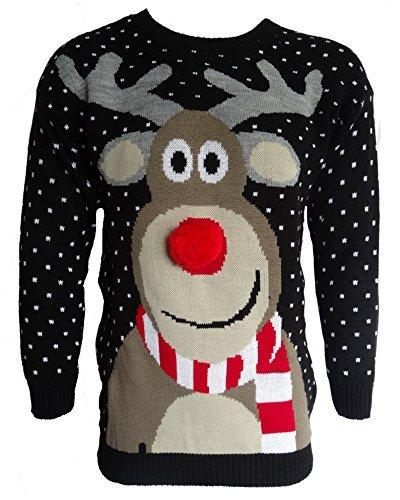 *Herren Damen 3D Rudolph Rentier Elfen Weihnachten Neuheit Pullover Stricktop – SCHWARZ POM POM NASEN, Herren, M*