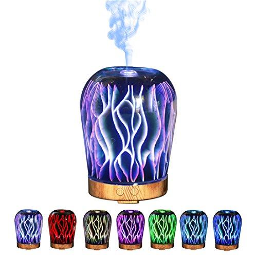 Duftzerstäuber Humidifier Aromatherapie Diffusor Aroma Diffuserm aroma diffuser holz Holzmaserung luftbefeuchter mit farbenwechselnde elektrisch Duftlampe Duftzerstäuber (Kurve) -
