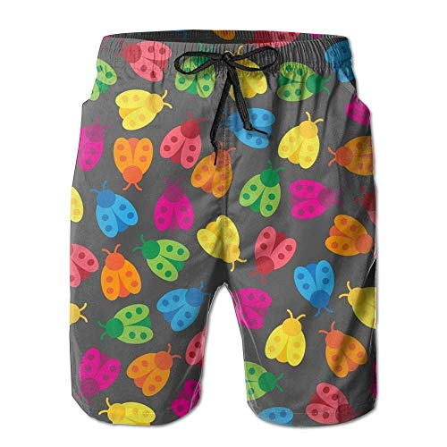 Fashion Rainbow Ladybugs Summer Shorts Swim Trunk Quick Dry Casual Summer Beach Shorts with Pockets S -