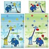 Aminata Kids – bunte Bettwäsche 100x135 cm Kinder Jungen Mädchen Tiere Baumwolle Reißverschluss Grün Blau Zootiere Elefant Giraffe Schildkröte Kinderbettwäsche Babybettwäsche Bettbezug Kinderbettgröße