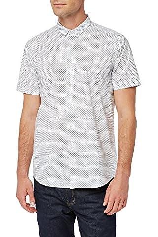 next Herren Gemustertes Hemd mit kurzen Aermeln Regular XL Weiss