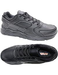 Scarpe Uomo Eco Pelle Ginnastica Sneakers Lacci Sportive Sport Fitness Nero M2813 (44)