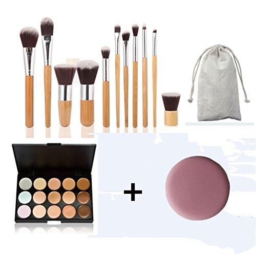 Timesong NEUF 15 couleurs crème Contour visage Maquillage Correcteur Palette + 11 pcs Bambou Ensemble de brosse plate avec gratuit Mode Base Puff