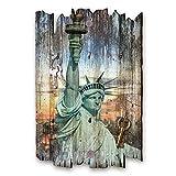 Kreative Feder New York Designer Schlüsselbrett, Hakenleiste Landhaus Style, Shabby aus Holz 30x20cm, HSB084
