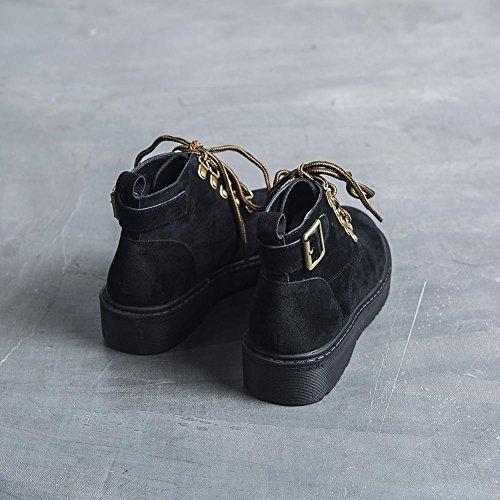 Donna Martin Stivali XYM888-6 Retro Serie di Suole Spesse Scarpe Calde Autunno e Inverno,KJJDE black and cashmere