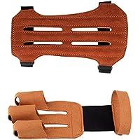 MagiDeal Guantes de 3 Dedos con Protectora de Brazo Accesorio de Archero Ajustable