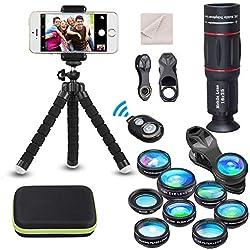 15 en 1 Kit de lentilles de caméra universel pour téléphone 18X Téléobjectif Objectif grand angle,macro,Fisheye CPL flux étoile radial déclencheur à distance pour la plupart des téléphones intelligent