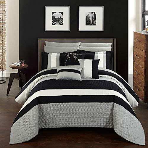 Chic Home cs2546-an Pueblo 10piece Pueblo komplett Schlafzimmer-Set mit Octagon Stickerei Color Block Muster. Queen Bett in einem Beutel Tröster Set schwarz mit-Bettlaken-Set, schwarz, Queen -