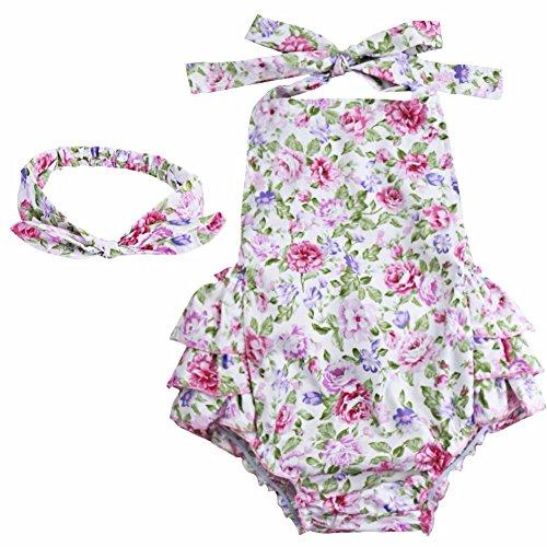 Kleinkind Bunny Baby Kostüm - YiZYiF Baby Kleinkind Spielanzug Overall Bodies Anzug Mädchen Bekleidung Set mit Stirnband Weiß & Rosa + Rose 6 Monate