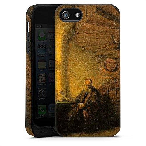 Apple iPhone 6 Housse Étui Silicone Coque Protection Rembrandt van Rijn Tableau Philosophe - en méditation Cas Tough terne