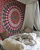 Raajsee Indisch Psychedelic Wandteppich Mandala Blau Orange Twin 54x82 Inches/ Ein perfektes Geschenk/ Elefant Boho Wandtuch Hippie,Mehrfarbige Wandbehang Decke Tuch/ Indien Baumwolle Wandtucher