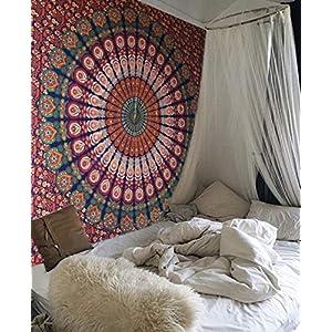 Raajsee Indisch Psychedelic Wandteppich Mandala Blau Orange Twin 54×82 Inches/ Ein perfektes Geschenk/ Elefant Boho Wandtuch Hippie,Mehrfarbige Wandbehang Decke Tuch/ Indien Baumwolle Wandtucher