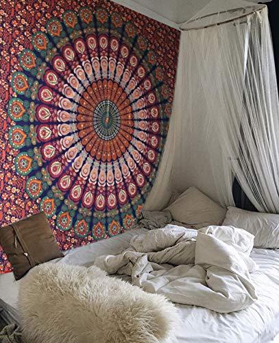 Raajsee tema arancione colore blu pavone floreale mandala tapestry wall hanging by, boho bohemian hippy hippie doppia copriletto dorm decor, cotone indiano, arazzo elephant, meditazione yoga