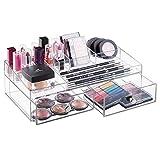 mDesign Organizer Cosmetici - Pratico Contenitore Plastica Porta Trucchi con 2 Cassetti - Per smalti, rossetti, make up, profumi, prodotti per il viso, flaconcini - Trasparente