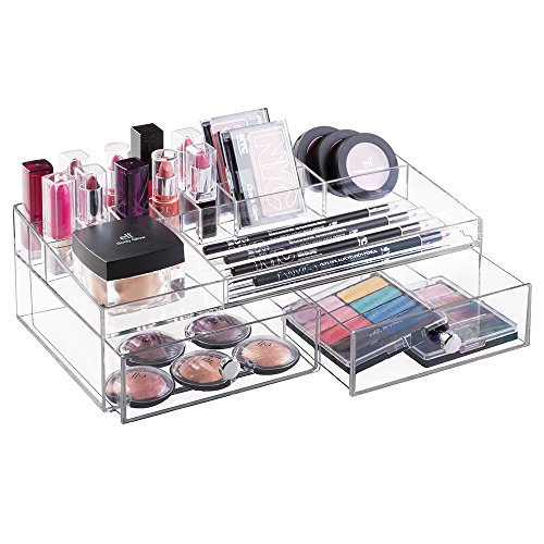mDesign Organizador de cosméticos transparente – Caja para maquillaje y productos de belleza con compartimentos y dos cajones extraíbles – Gran capacidad de almacenaje