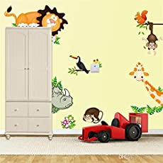 Himani Decors Jungle Animals Wall Sticker for Kids Room Vinyl (90 cm X 30 cm)