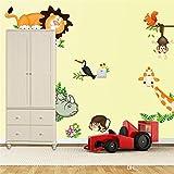 Himani Decors Jungle Animals Wall Sticker For Kids Room Vinyl (90 Cm X 30 Cm)