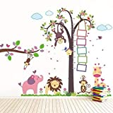 Walplus-Adesivi da parete rimovibili per cameretta Monkey Height Measure (TM)-Huge Elephant animali, con scimmietta Nursery Kid's Room, 195 x 160 cm, colore: multicolore