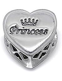 Abalorio de plata de ley, diseño de corazón reversible con el texto «Princess», incluye cristal de Swarovski, compatible con las pulseras europeas