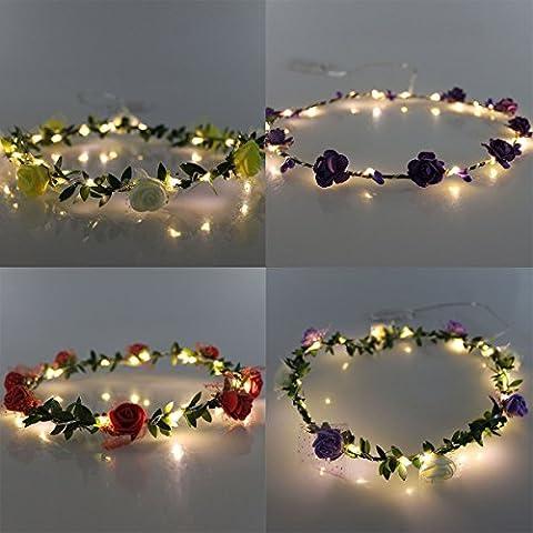 JOJOO Conjunto de 4 LED de la guirnalda de flores diadema - Festival de boda corona floral de la flor del pelo de la guirnalda del tocado con LED Decoración LT036*4